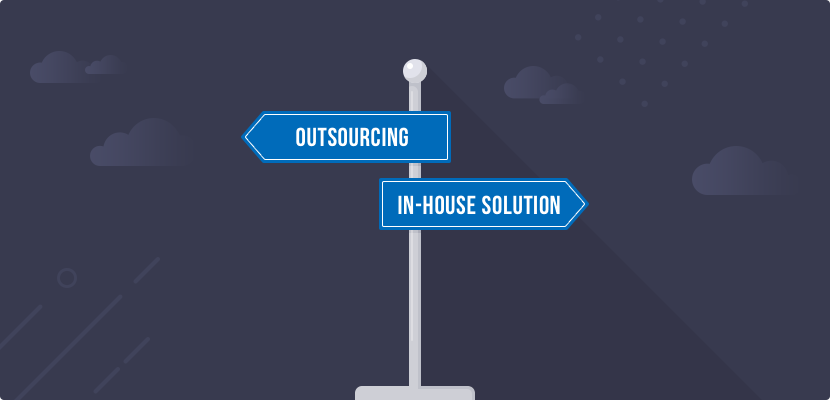 Two street signs that say: outsourcing & in-house solution