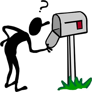 Cartoon person looking inside an empty physical mailbox