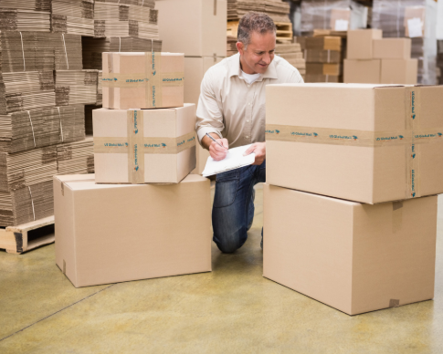 Person tracking mail packages in a warehouse
