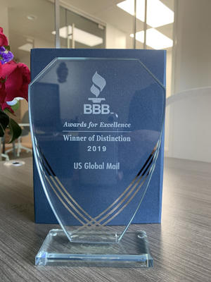 A BBB award in a desk