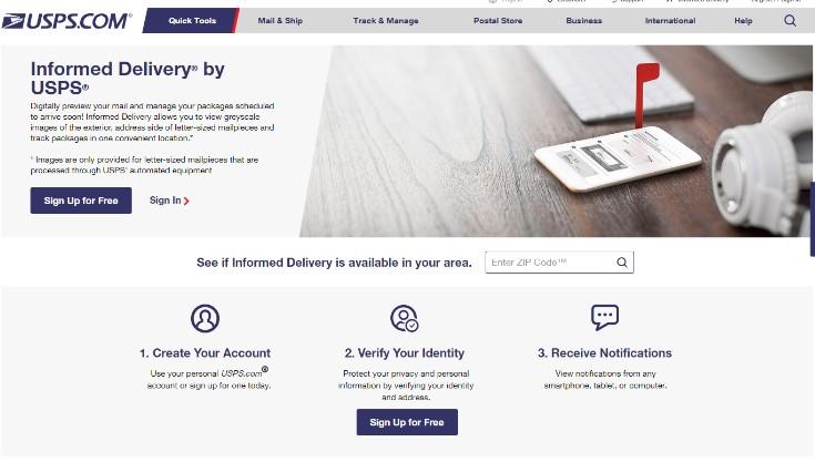 usps informed delivery website