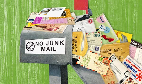 Mailbox stuffed with junk mail