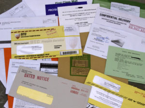 Junk mail letters piling up