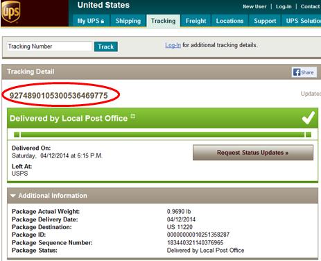 UPS Tracking ID
