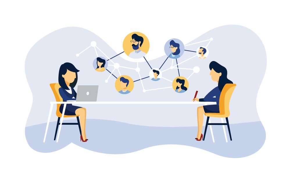 employees interact through a virtual office