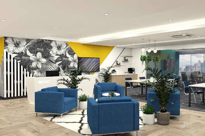 blue chairs in a virtual office