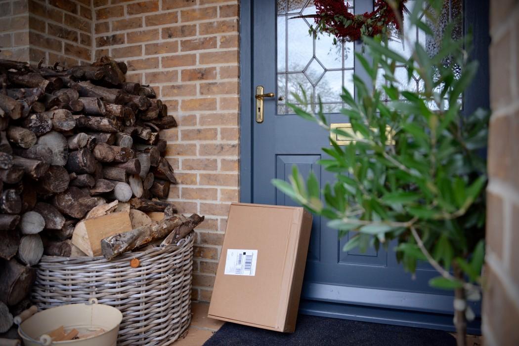 usps parcel on the front door
