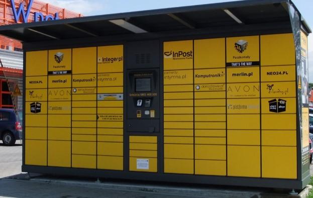 yellow parcel lockers