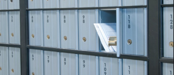 an envelope in a po box