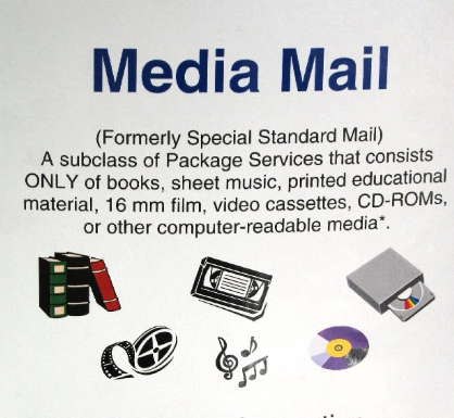 poster explaining what media mail is
