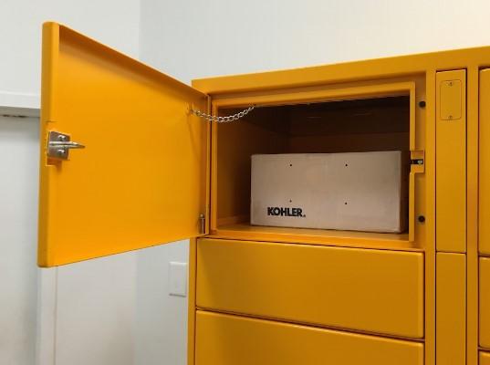 an open parcel locker