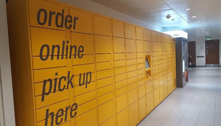 yellow parcel locker