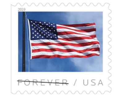 american flag on a stamp