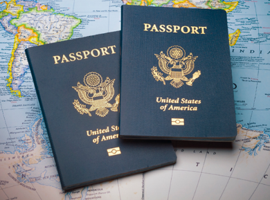 two passports on a map