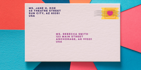 envelope with a stamp on it