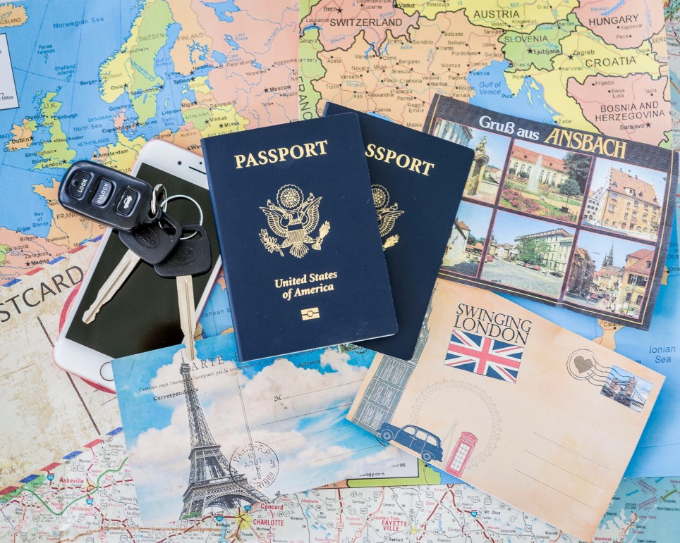 passport on a map