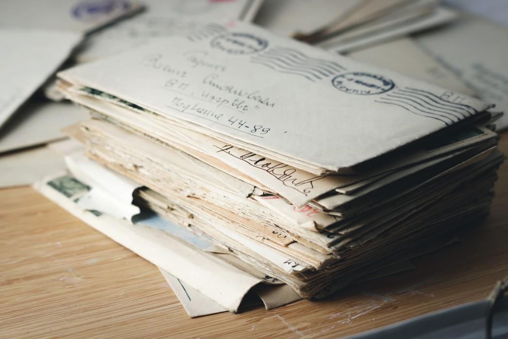 envelopes on a desk