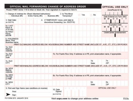 change of address form usps