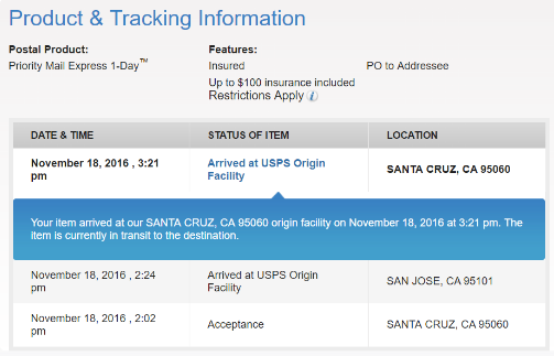 priority mail tracking update