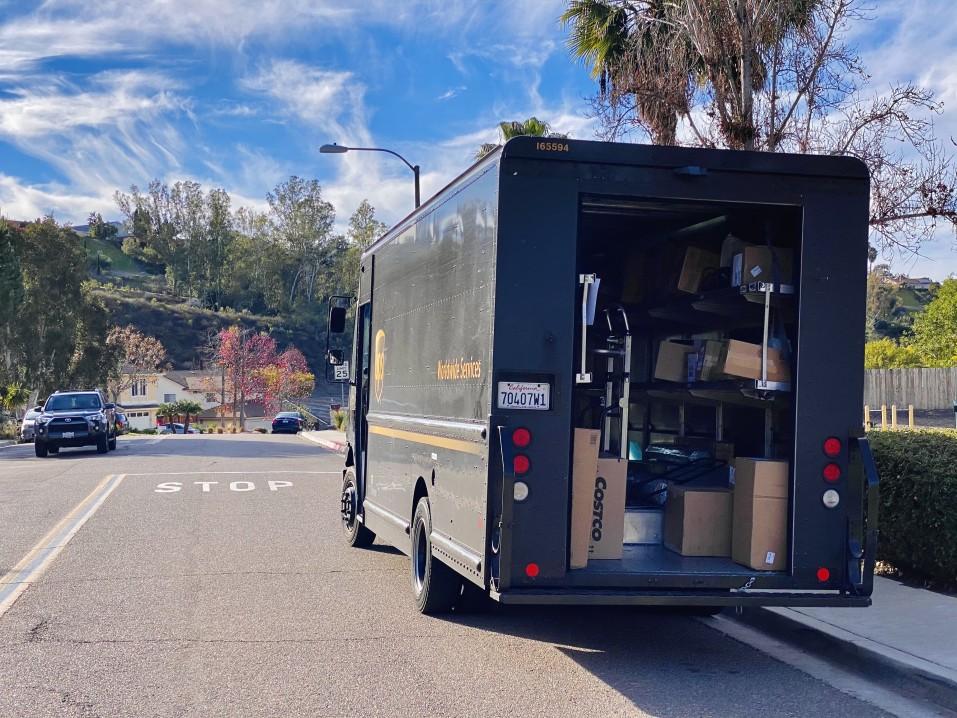 ups truck delivering mail