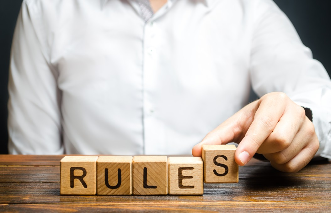 "blocks that say ""rules"""