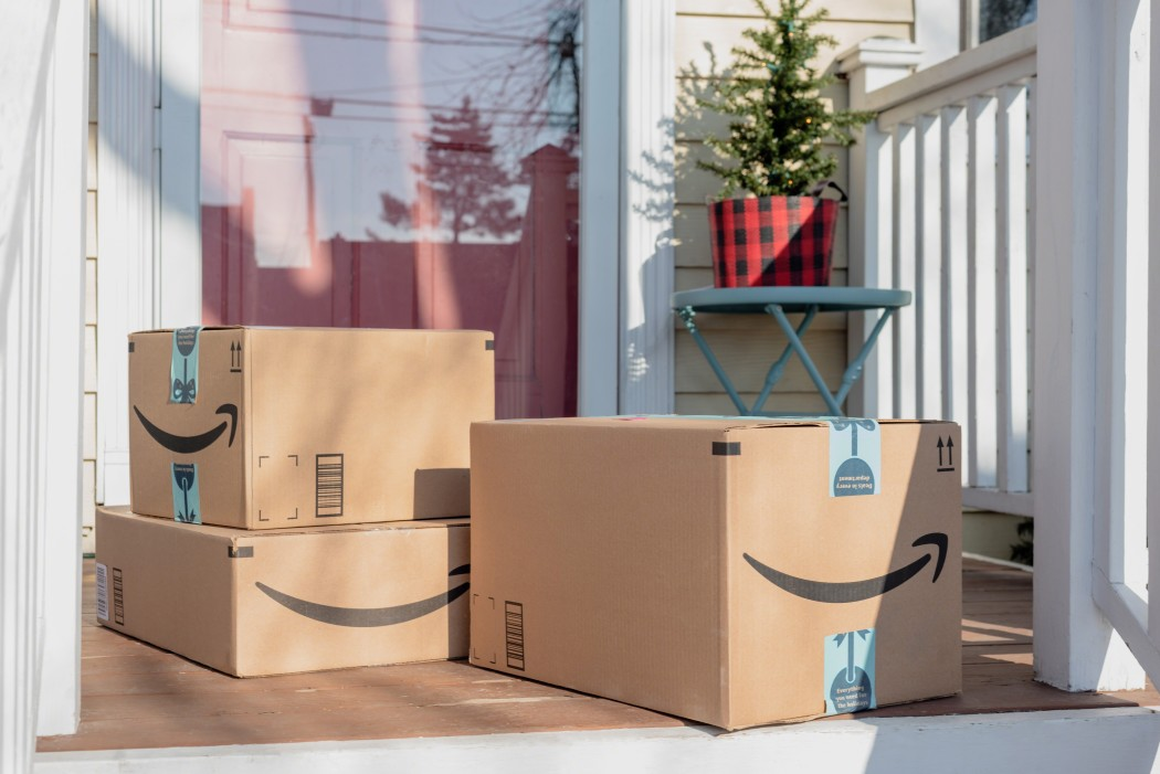 amazon packages at the front door