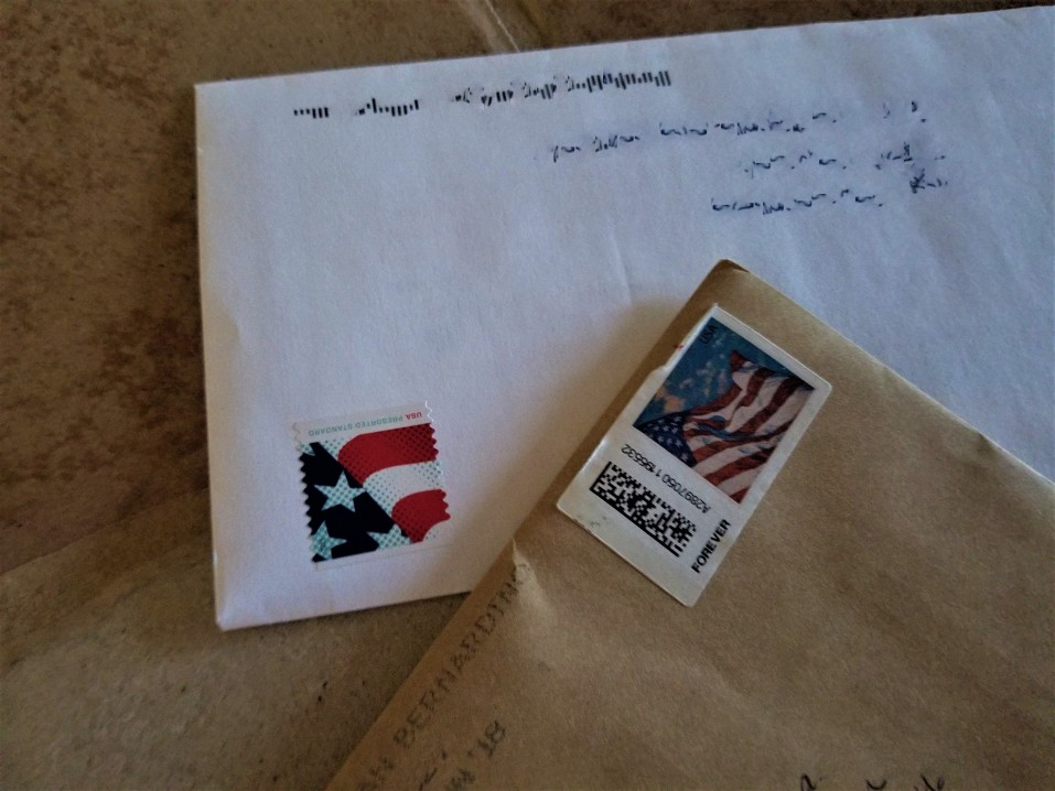 stamps on an envelope