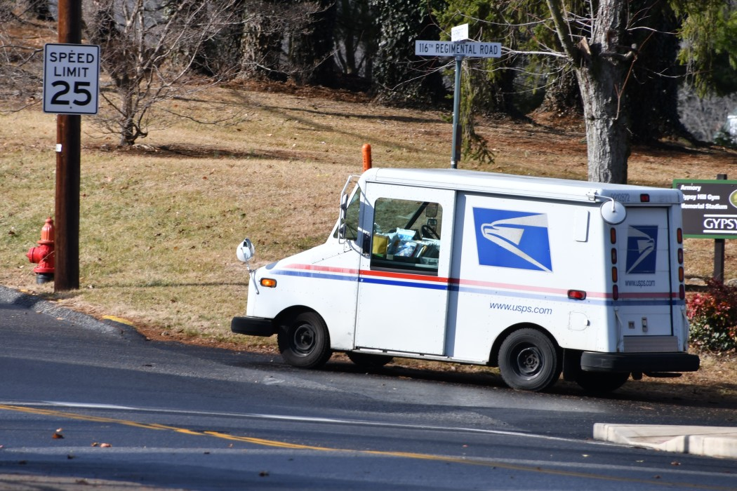usps truck on the road