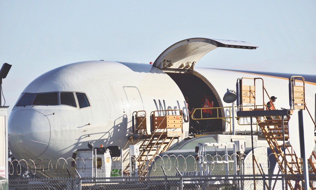 ups airplane getting loaded with packages
